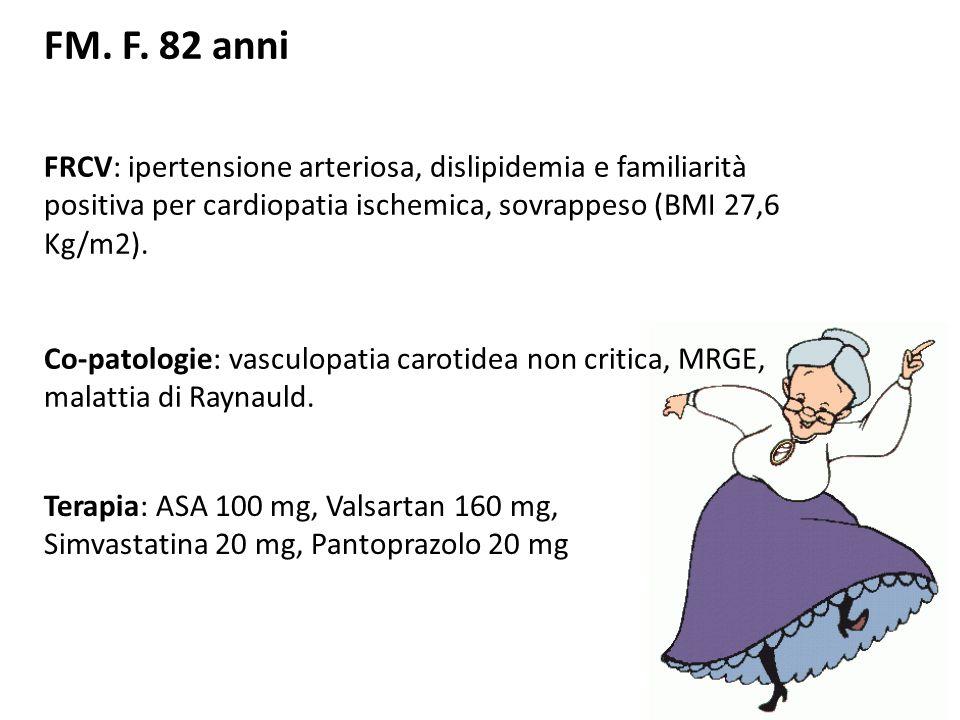 FM. F. 82 anniFRCV: ipertensione arteriosa, dislipidemia e familiarità positiva per cardiopatia ischemica, sovrappeso (BMI 27,6 Kg/m2).