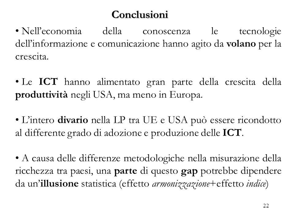 Conclusioni Nell'economia della conoscenza le tecnologie dell'informazione e comunicazione hanno agito da volano per la crescita.