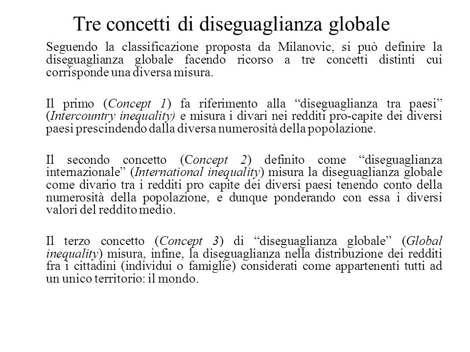 Tre concetti di diseguaglianza globale