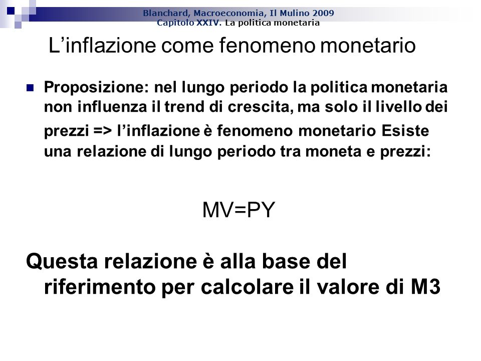 L'inflazione come fenomeno monetario