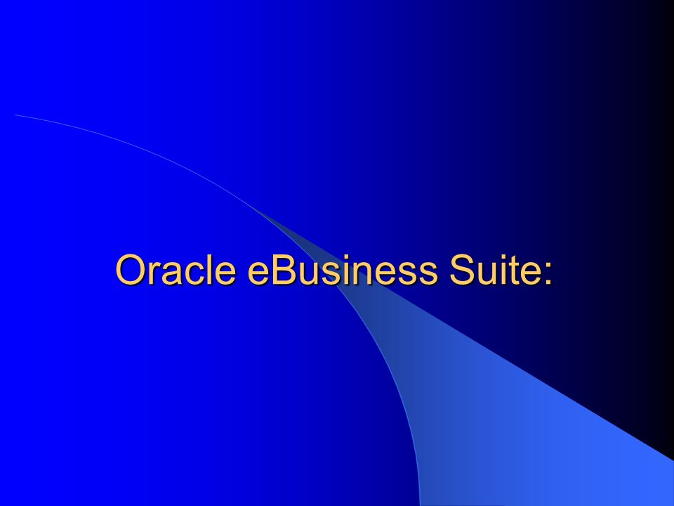 Oracle eBusiness Suite: