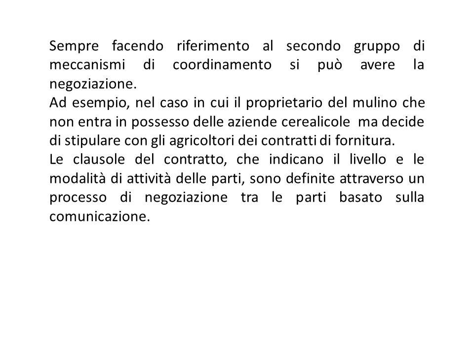 Sempre facendo riferimento al secondo gruppo di meccanismi di coordinamento si può avere la negoziazione.