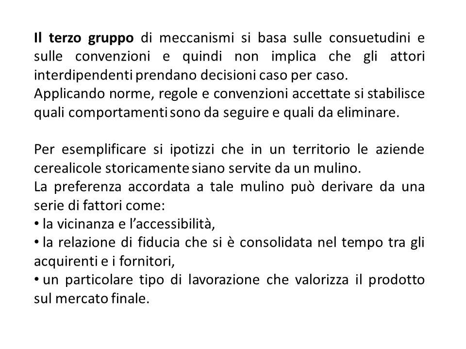 Il terzo gruppo di meccanismi si basa sulle consuetudini e sulle convenzioni e quindi non implica che gli attori interdipendenti prendano decisioni caso per caso.