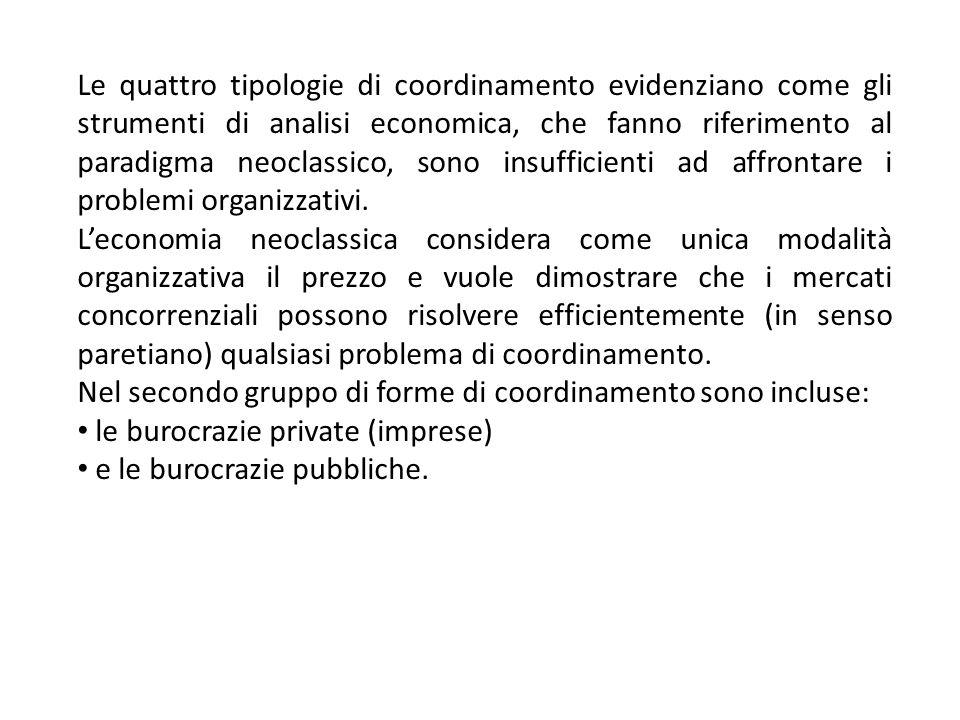 Le quattro tipologie di coordinamento evidenziano come gli strumenti di analisi economica, che fanno riferimento al paradigma neoclassico, sono insufficienti ad affrontare i problemi organizzativi.