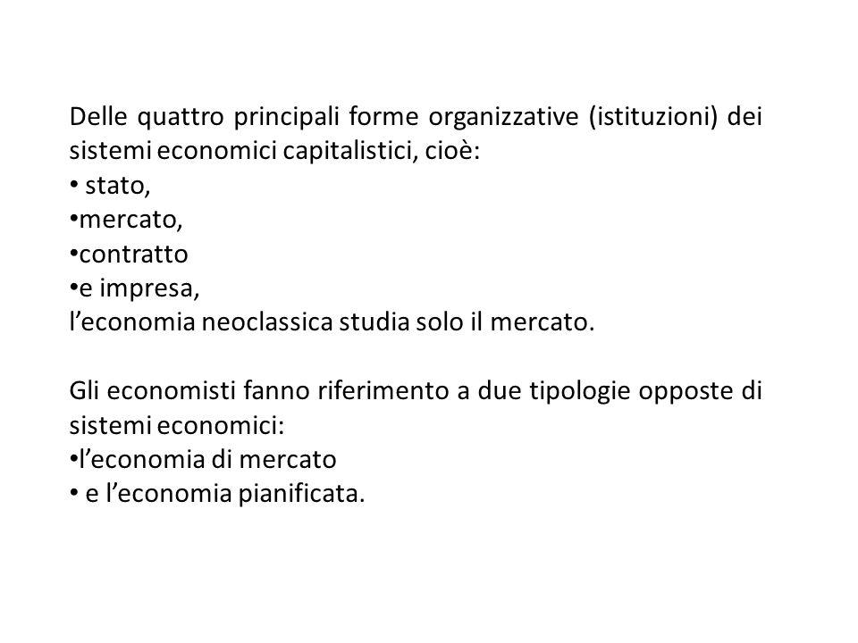 Delle quattro principali forme organizzative (istituzioni) dei sistemi economici capitalistici, cioè:
