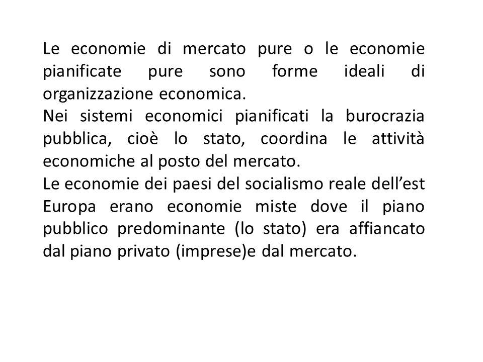 Le economie di mercato pure o le economie pianificate pure sono forme ideali di organizzazione economica.
