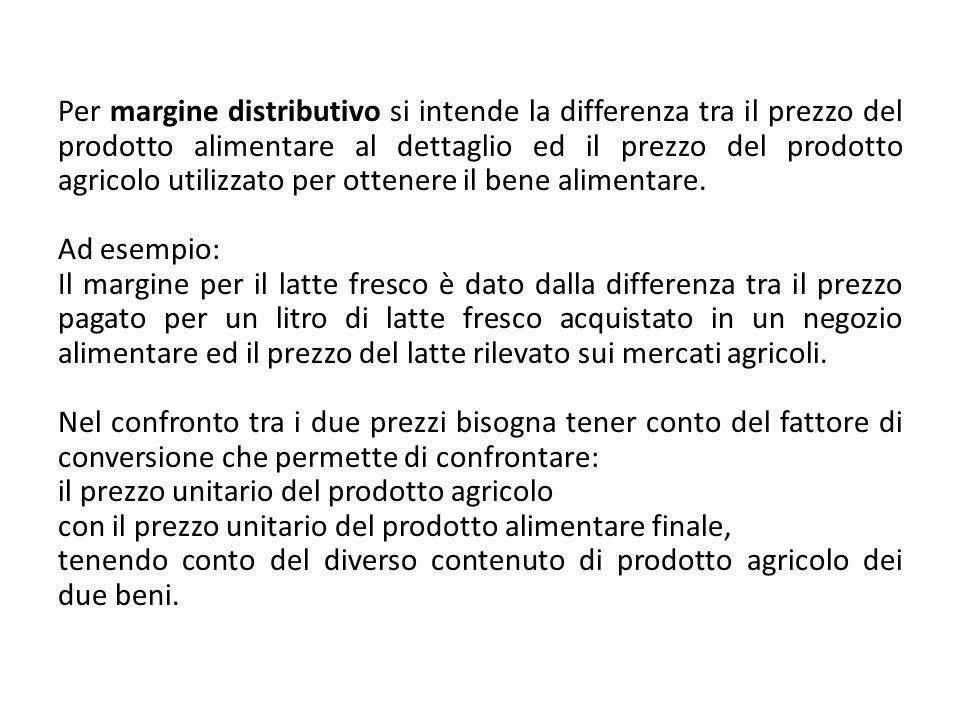 Per margine distributivo si intende la differenza tra il prezzo del prodotto alimentare al dettaglio ed il prezzo del prodotto agricolo utilizzato per ottenere il bene alimentare.