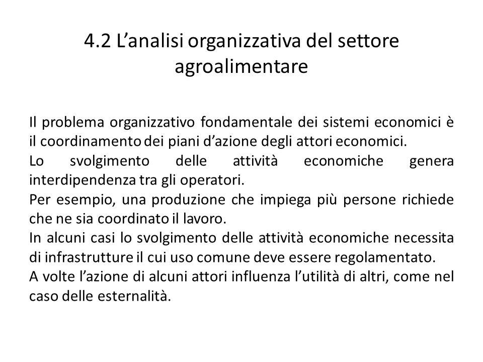 4.2 L'analisi organizzativa del settore agroalimentare