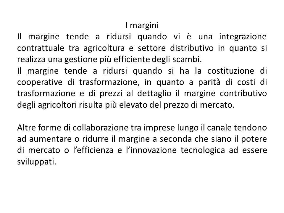 I margini Il margine tende a ridursi quando vi è una integrazione contrattuale tra agricoltura e settore distributivo in quanto si realizza una gestione più efficiente degli scambi.