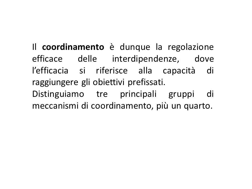 Il coordinamento è dunque la regolazione efficace delle interdipendenze, dove l'efficacia si riferisce alla capacità di raggiungere gli obiettivi prefissati.