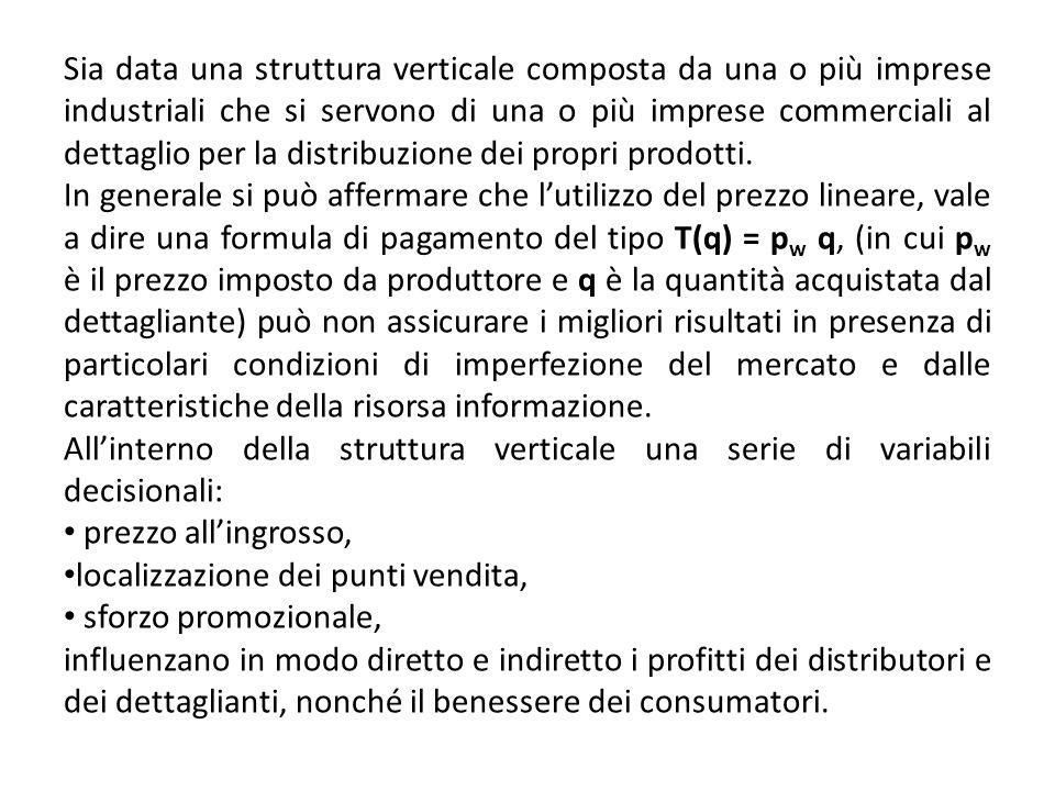 Sia data una struttura verticale composta da una o più imprese industriali che si servono di una o più imprese commerciali al dettaglio per la distribuzione dei propri prodotti.