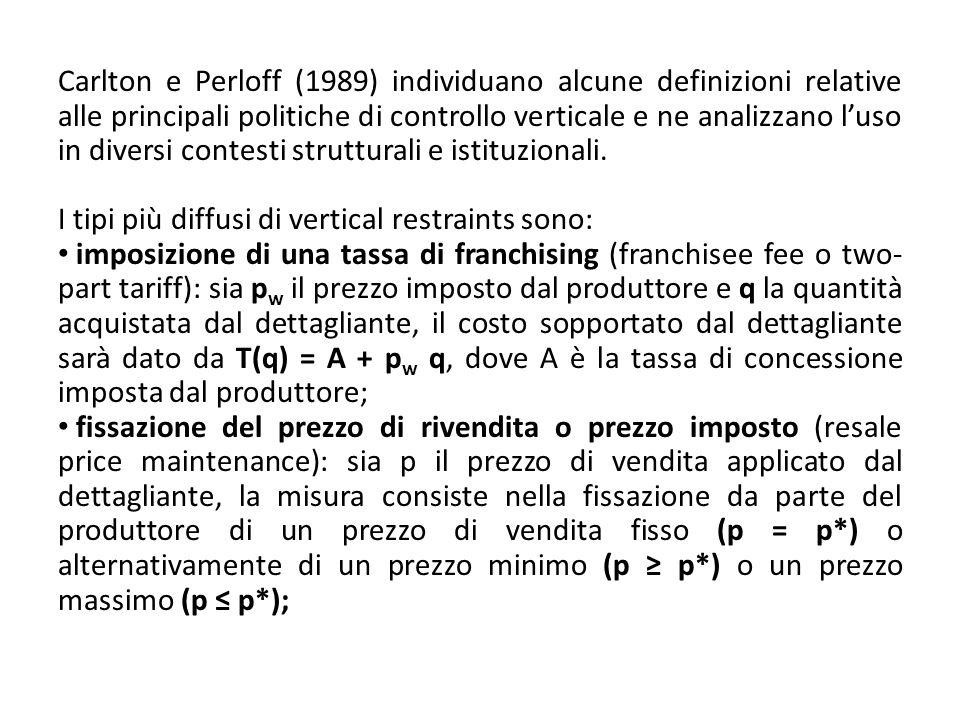 Carlton e Perloff (1989) individuano alcune definizioni relative alle principali politiche di controllo verticale e ne analizzano l'uso in diversi contesti strutturali e istituzionali.