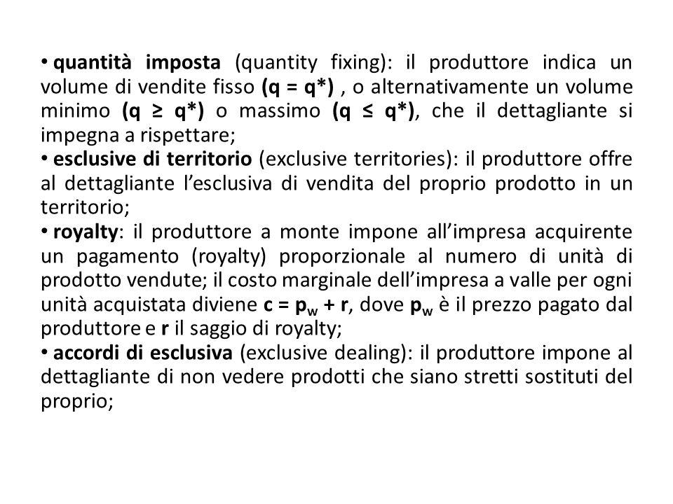 quantità imposta (quantity fixing): il produttore indica un volume di vendite fisso (q = q*) , o alternativamente un volume minimo (q ≥ q*) o massimo (q ≤ q*), che il dettagliante si impegna a rispettare;