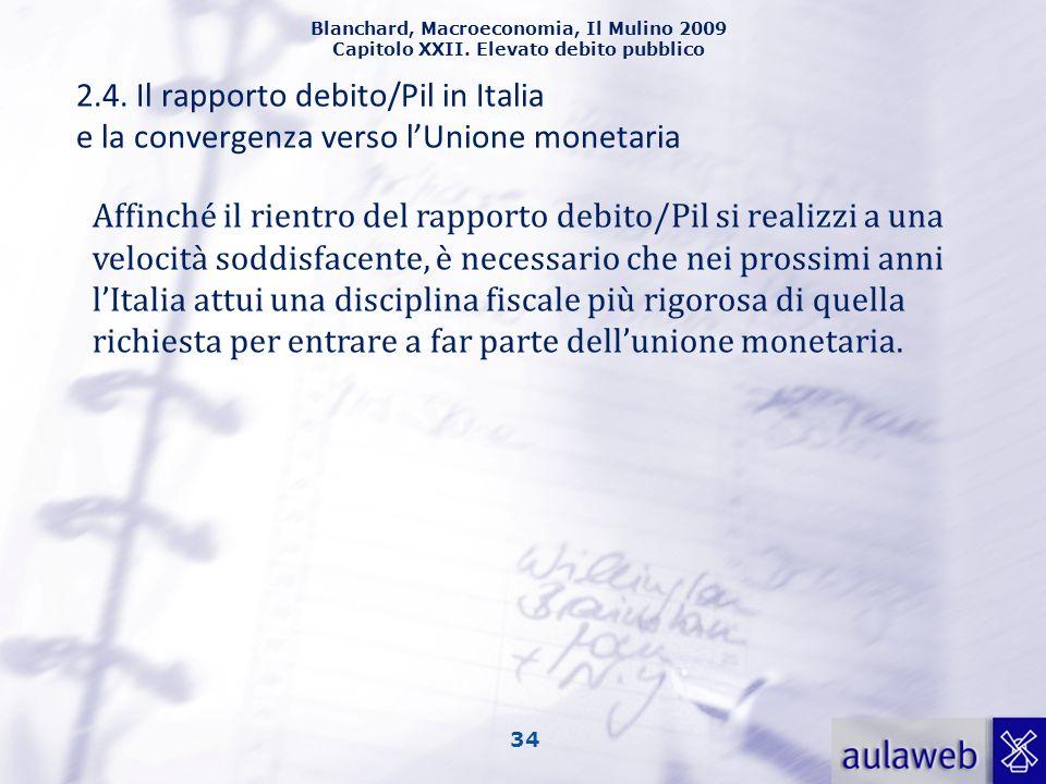2.4. Il rapporto debito/Pil in Italia e la convergenza verso l'Unione monetaria