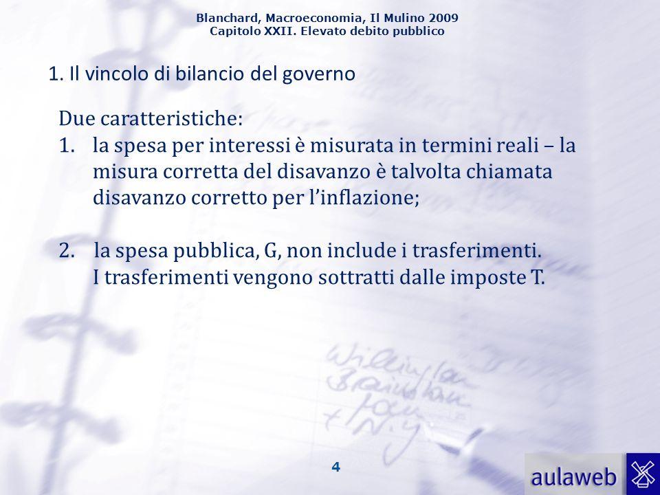 1. Il vincolo di bilancio del governo