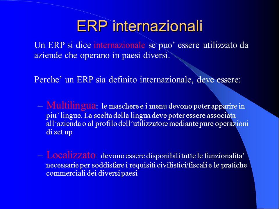 ERP internazionali Un ERP si dice internazionale se puo' essere utilizzato da aziende che operano in paesi diversi.