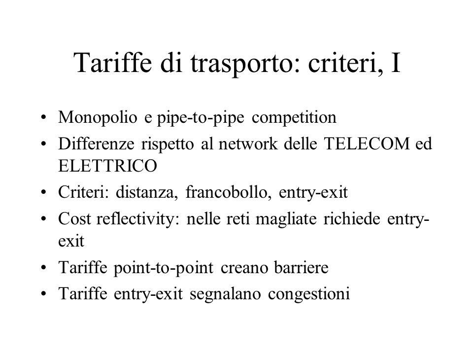 Tariffe di trasporto: criteri, I