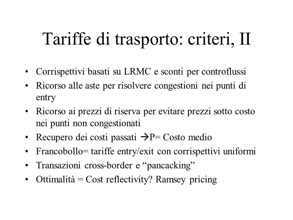 Tariffe di trasporto: criteri, II