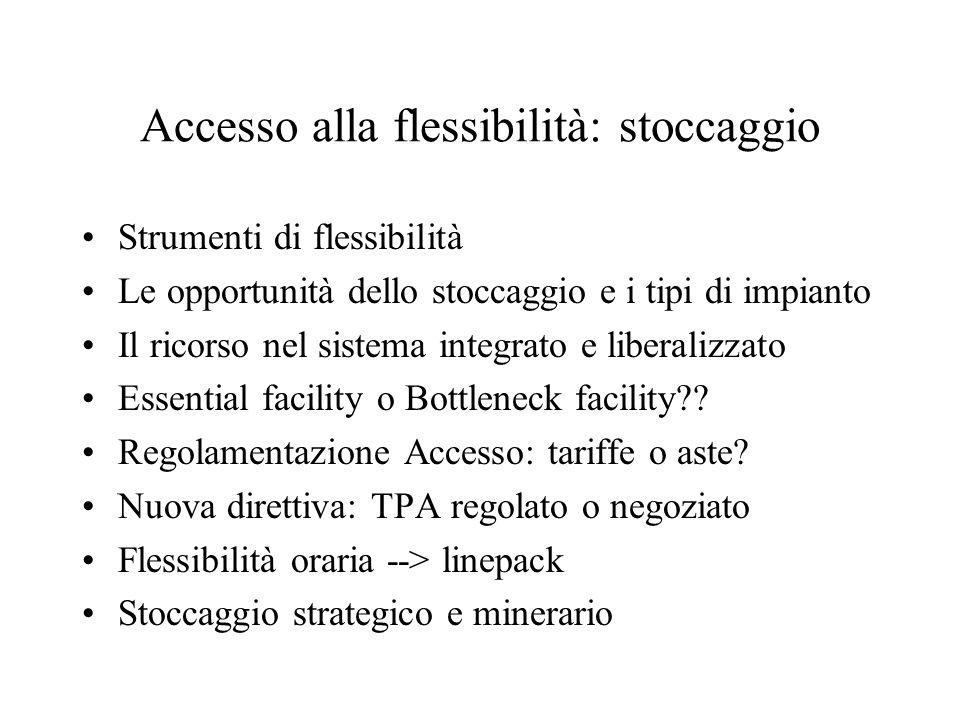 Accesso alla flessibilità: stoccaggio
