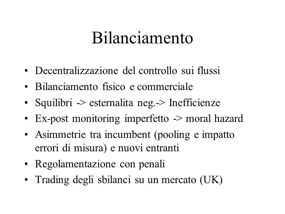 Bilanciamento Decentralizzazione del controllo sui flussi