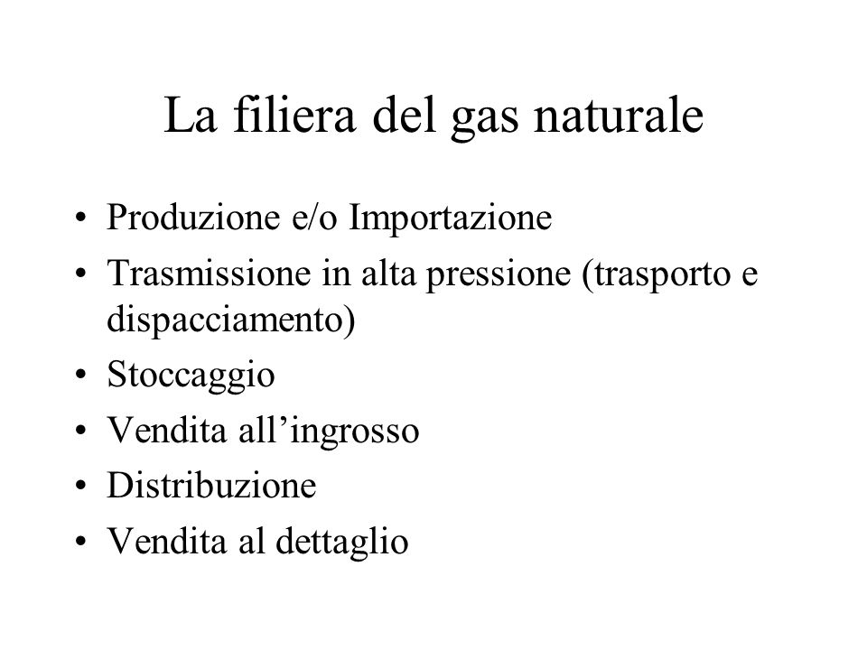 La filiera del gas naturale