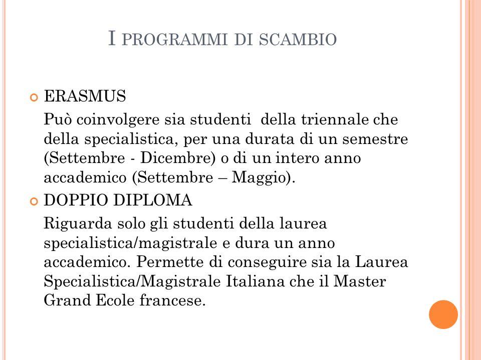 I programmi di scambio ERASMUS