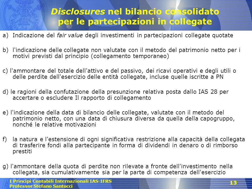 Disclosures nel bilancio consolidato per le partecipazioni in collegate