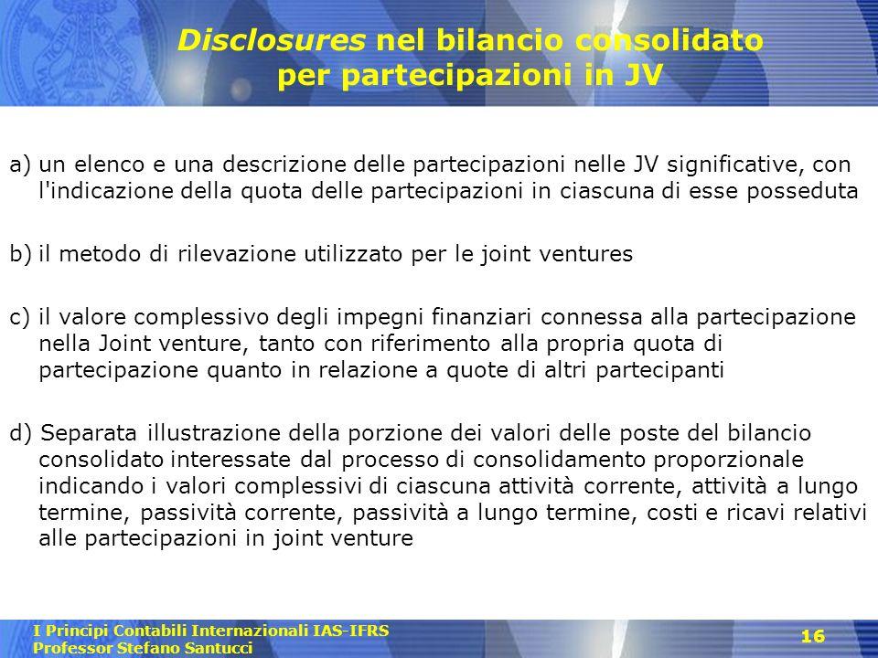 Disclosures nel bilancio consolidato per partecipazioni in JV