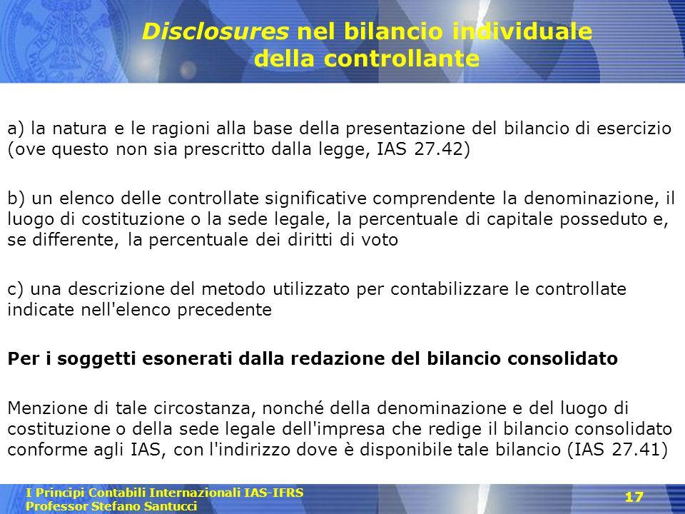 Disclosures nel bilancio individuale della controllante