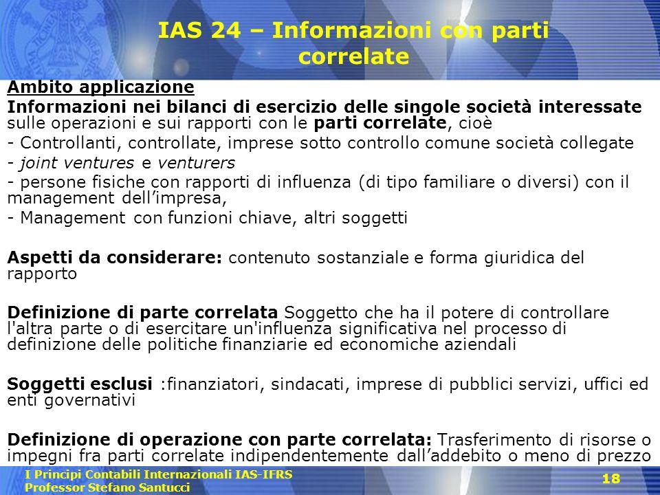 IAS 24 – Informazioni con parti correlate
