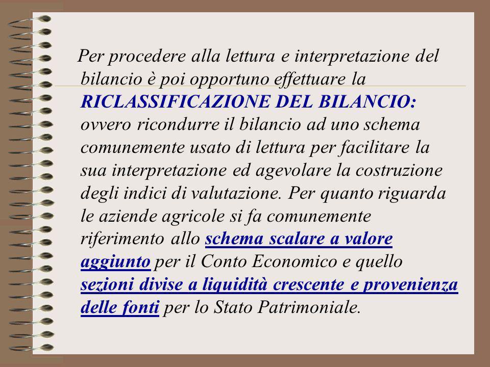 Per procedere alla lettura e interpretazione del bilancio è poi opportuno effettuare la RICLASSIFICAZIONE DEL BILANCIO: ovvero ricondurre il bilancio ad uno schema comunemente usato di lettura per facilitare la sua interpretazione ed agevolare la costruzione degli indici di valutazione.