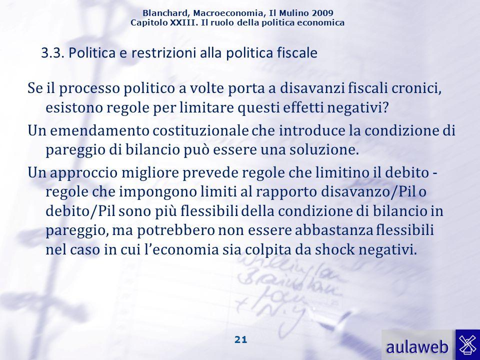 3.3. Politica e restrizioni alla politica fiscale