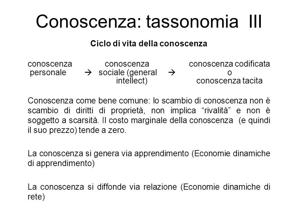 Conoscenza: tassonomia III