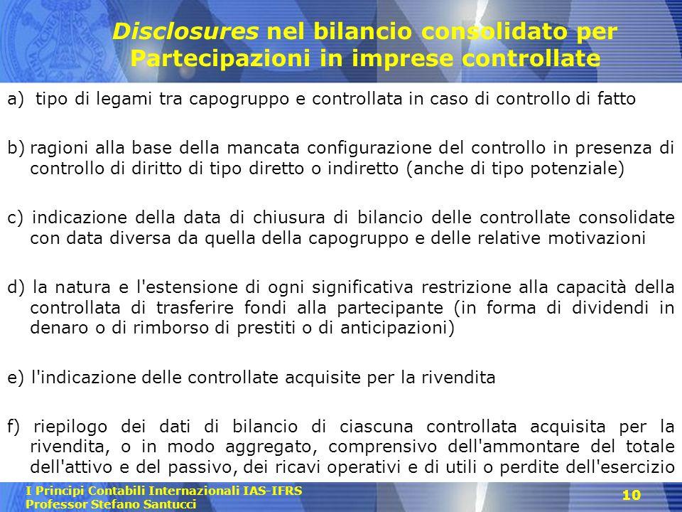 Disclosures nel bilancio consolidato per Partecipazioni in imprese controllate