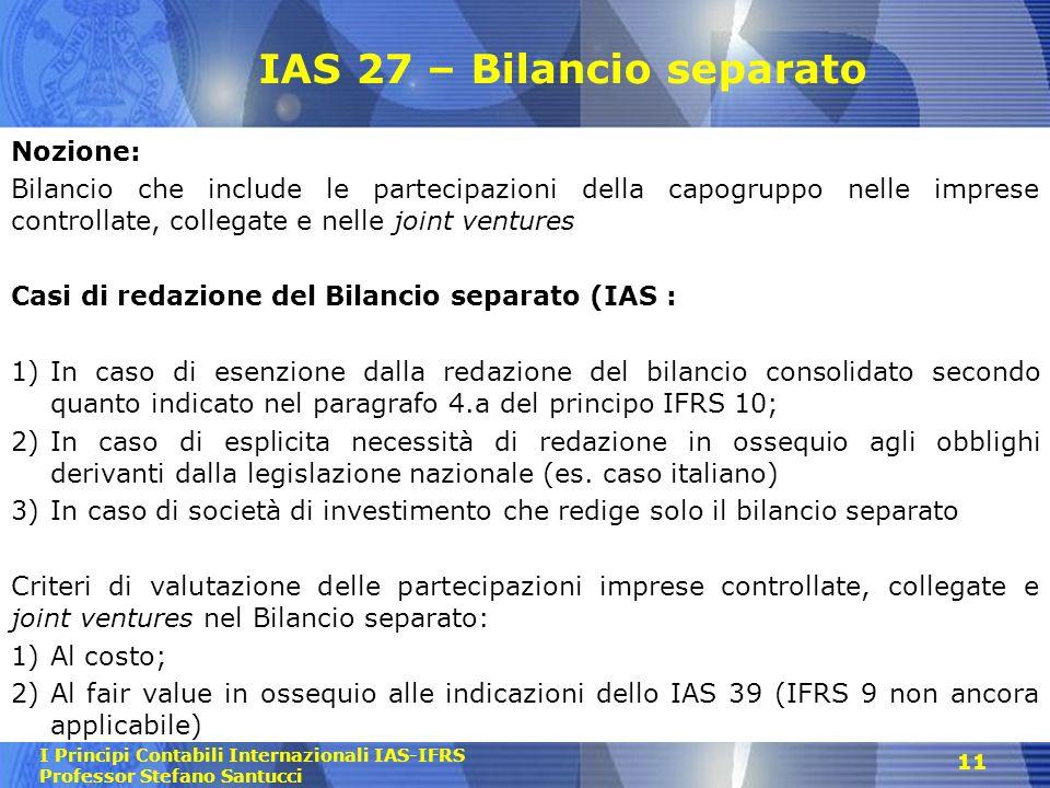 IAS 27 – Bilancio separato