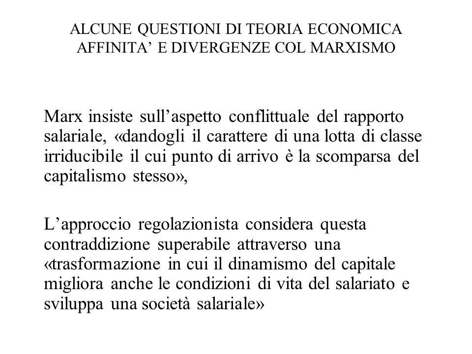 ALCUNE QUESTIONI DI TEORIA ECONOMICA AFFINITA' E DIVERGENZE COL MARXISMO