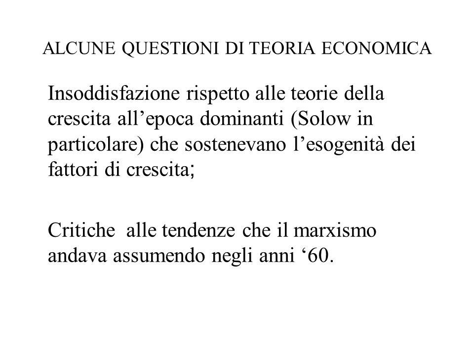 ALCUNE QUESTIONI DI TEORIA ECONOMICA