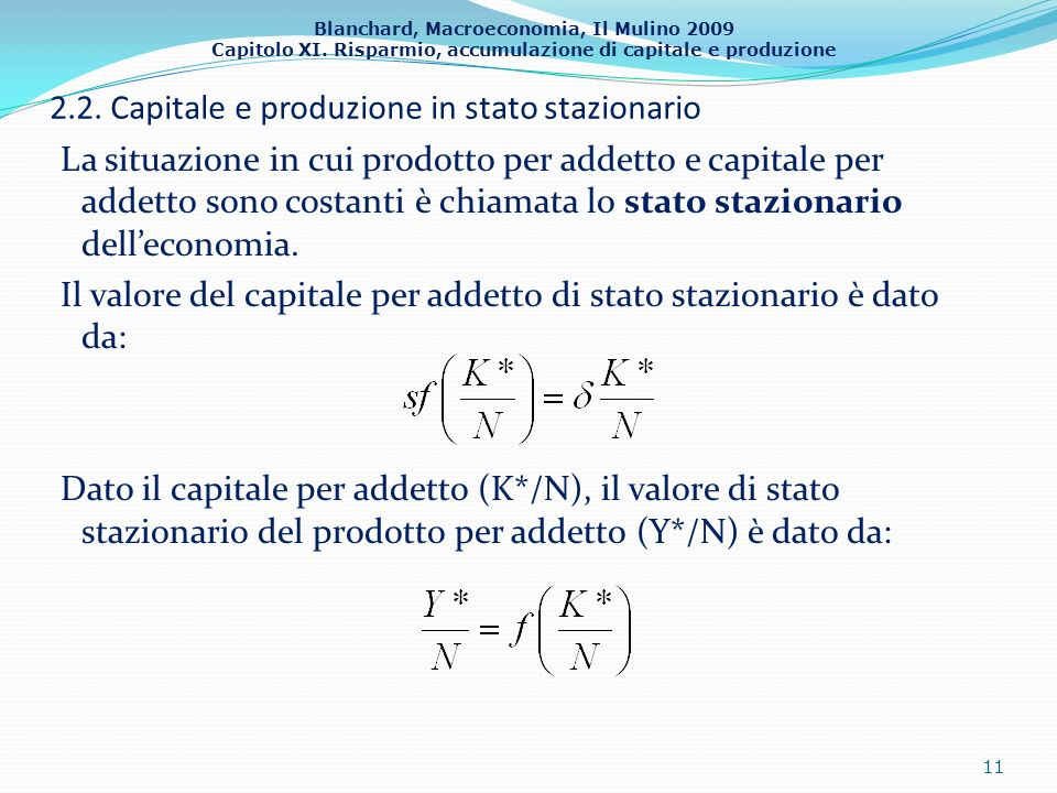 2.2. Capitale e produzione in stato stazionario