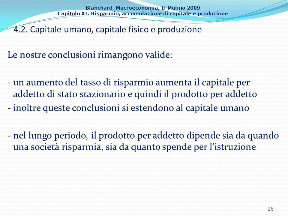 4.2. Capitale umano, capitale fisico e produzione