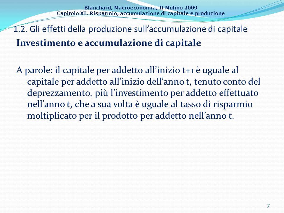 1.2. Gli effetti della produzione sull'accumulazione di capitale