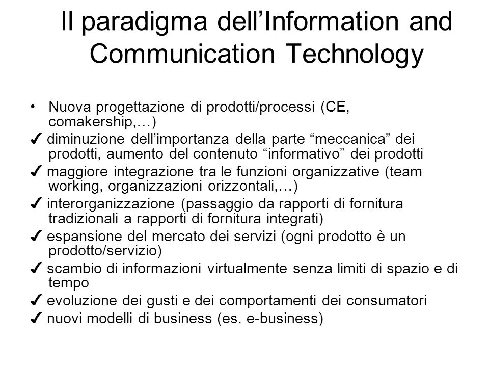 Il paradigma dell'Information and Communication Technology