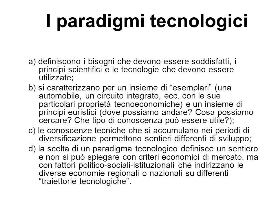 I paradigmi tecnologici