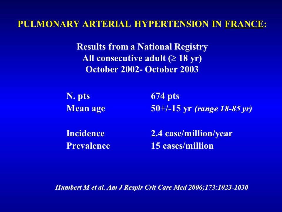 Humbert M et al. Am J Respir Crit Care Med 2006;173:1023-1030