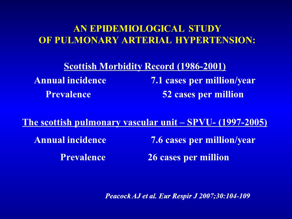 AN EPIDEMIOLOGICAL STUDY OF PULMONARY ARTERIAL HYPERTENSION: