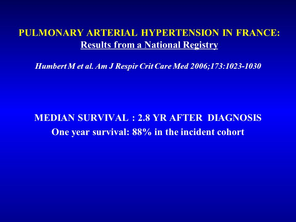 MEDIAN SURVIVAL : 2.8 YR AFTER DIAGNOSIS