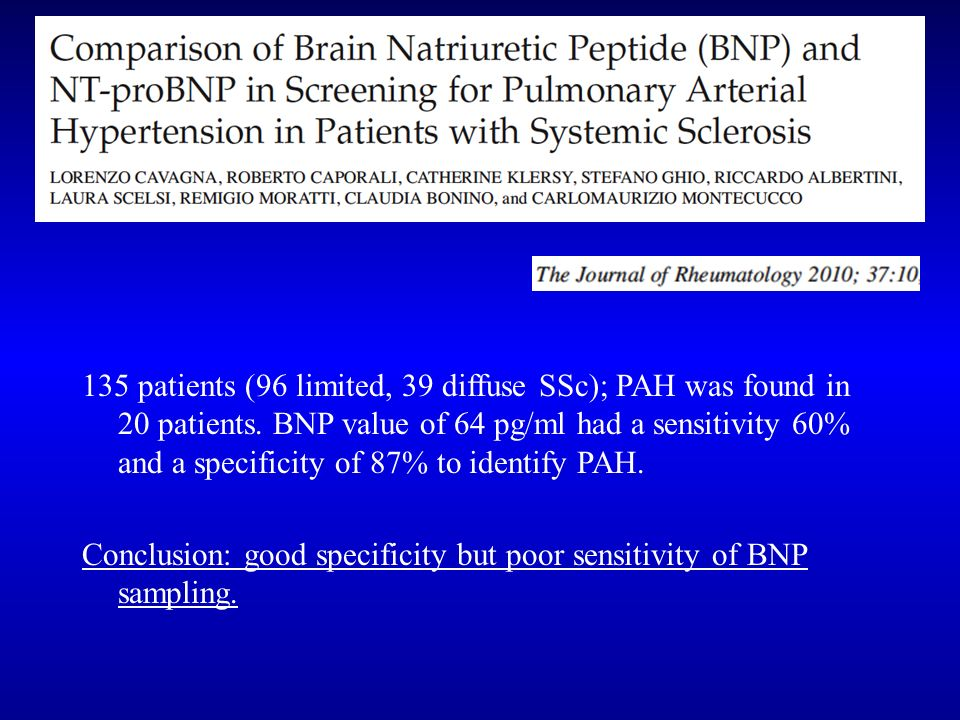 135 patients (96 limited, 39 diffuse SSc); PAH was found in 20 patients. BNP value of 64 pg/ml had a sensitivity 60% and a specificity of 87% to identify PAH.