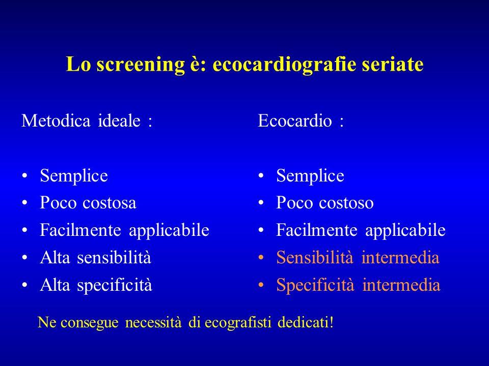 Lo screening è: ecocardiografie seriate