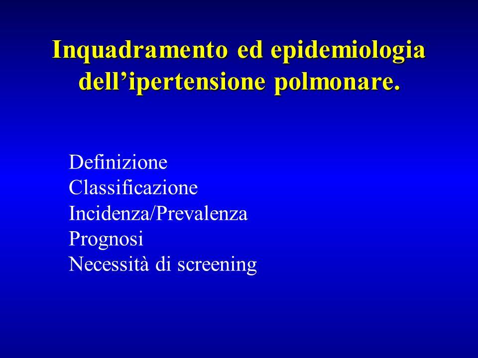 Inquadramento ed epidemiologia dell'ipertensione polmonare.