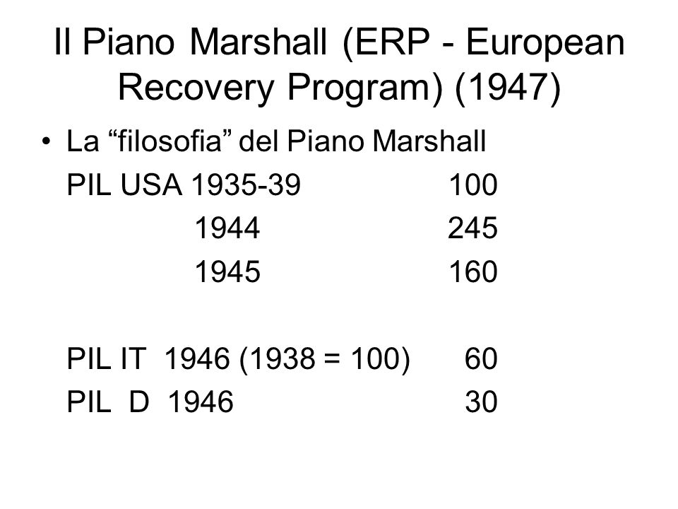 Il Piano Marshall (ERP - European Recovery Program) (1947)