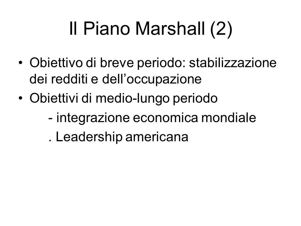 Il Piano Marshall (2) Obiettivo di breve periodo: stabilizzazione dei redditi e dell'occupazione. Obiettivi di medio-lungo periodo.
